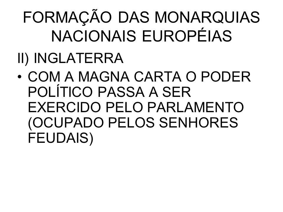 FORMAÇÃO DAS MONARQUIAS NACIONAIS EUROPÉIAS II) INGLATERRA COM A MAGNA CARTA O PODER POLÍTICO PASSA A SER EXERCIDO PELO PARLAMENTO (OCUPADO PELOS SENH