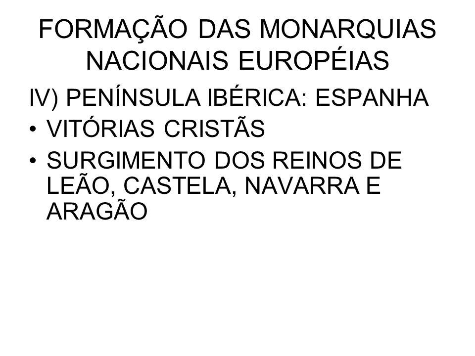 FORMAÇÃO DAS MONARQUIAS NACIONAIS EUROPÉIAS IV) PENÍNSULA IBÉRICA: ESPANHA VITÓRIAS CRISTÃS SURGIMENTO DOS REINOS DE LEÃO, CASTELA, NAVARRA E ARAGÃO