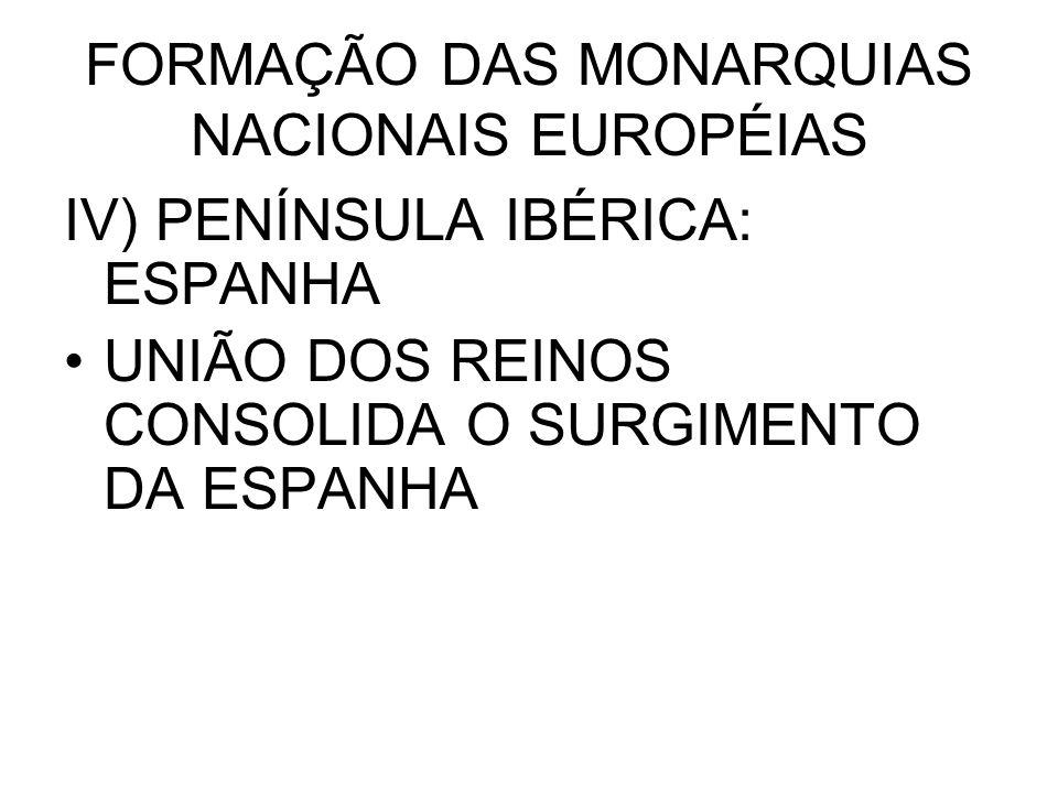 FORMAÇÃO DAS MONARQUIAS NACIONAIS EUROPÉIAS IV) PENÍNSULA IBÉRICA: ESPANHA UNIÃO DOS REINOS CONSOLIDA O SURGIMENTO DA ESPANHA