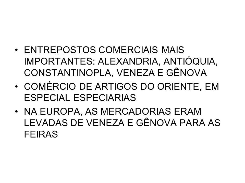 ENTREPOSTOS COMERCIAIS MAIS IMPORTANTES: ALEXANDRIA, ANTIÓQUIA, CONSTANTINOPLA, VENEZA E GÊNOVA COMÉRCIO DE ARTIGOS DO ORIENTE, EM ESPECIAL ESPECIARIA