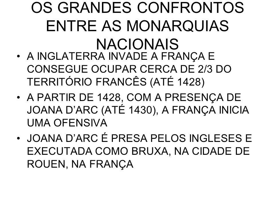 OS GRANDES CONFRONTOS ENTRE AS MONARQUIAS NACIONAIS A INGLATERRA INVADE A FRANÇA E CONSEGUE OCUPAR CERCA DE 2/3 DO TERRITÓRIO FRANCÊS (ATÉ 1428) A PAR