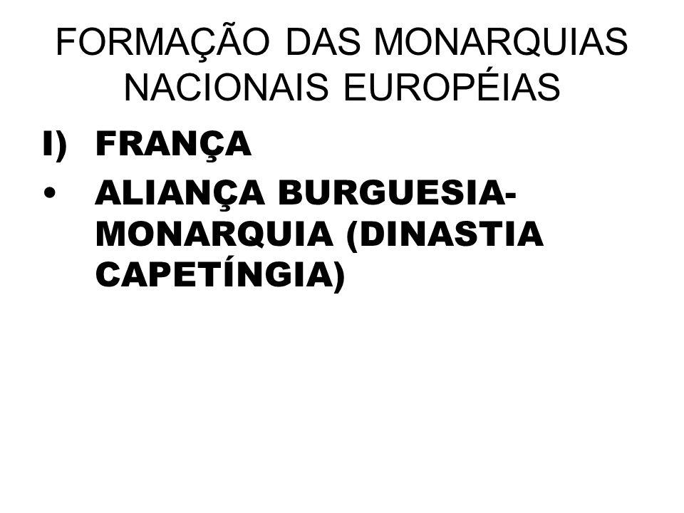 FORMAÇÃO DAS MONARQUIAS NACIONAIS EUROPÉIAS I)FRANÇA ALIANÇA BURGUESIA- MONARQUIA (DINASTIA CAPETÍNGIA)