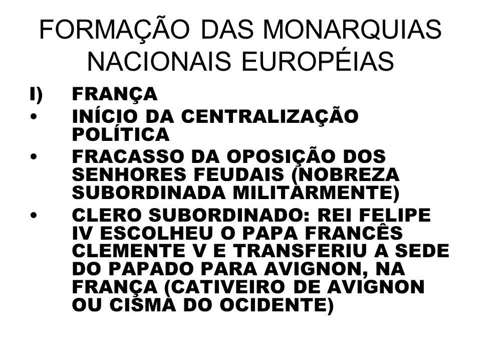 FORMAÇÃO DAS MONARQUIAS NACIONAIS EUROPÉIAS I)FRANÇA INÍCIO DA CENTRALIZAÇÃO POLÍTICA FRACASSO DA OPOSIÇÃO DOS SENHORES FEUDAIS (NOBREZA SUBORDINADA M