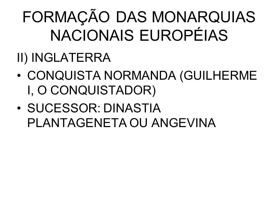 FORMAÇÃO DAS MONARQUIAS NACIONAIS EUROPÉIAS II) INGLATERRA CONQUISTA NORMANDA (GUILHERME I, O CONQUISTADOR) SUCESSOR: DINASTIA PLANTAGENETA OU ANGEVIN