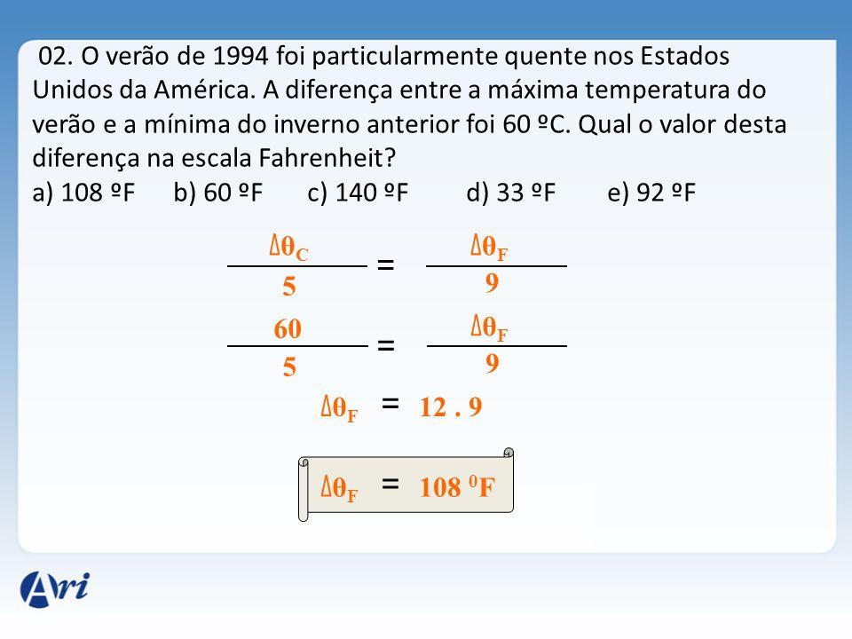 02. O verão de 1994 foi particularmente quente nos Estados Unidos da América. A diferença entre a máxima temperatura do verão e a mínima do inverno an