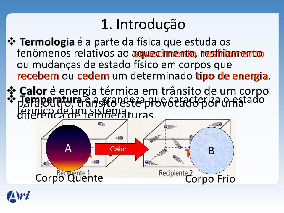 1. Introdução Termologia Termologia é a parte da física que estuda os fenômenos relativos ao aquecimento, resfriamento ou mudanças de estado físico em