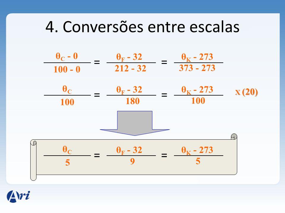 4. Conversões entre escalas θ C - 0 == θ F - 32θ K - 273 100 - 0 212 - 32 373 - 273 θCθC == θ F - 32θ K - 273 100 180 100 θCθC == θ F - 32θ K - 273 5