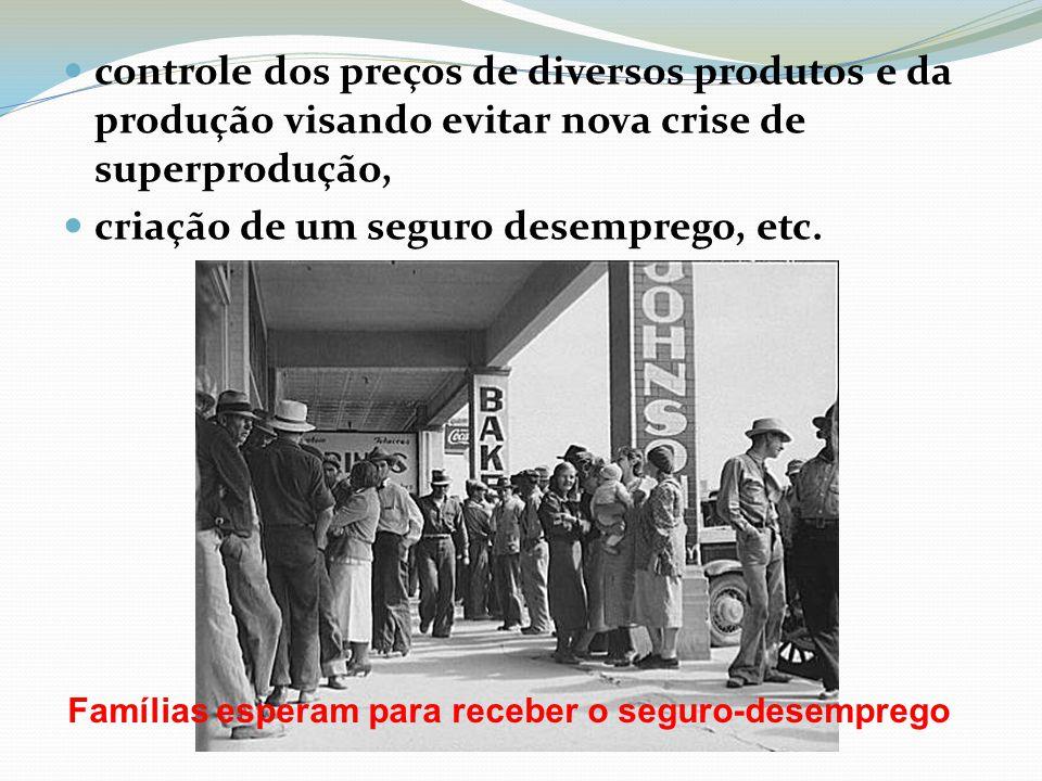 controle dos preços de diversos produtos e da produção visando evitar nova crise de superprodução, criação de um seguro desemprego, etc. Famílias espe