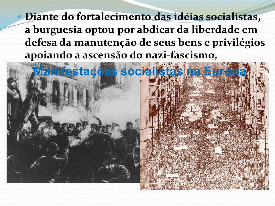 Diante do fortalecimento das idéias socialistas, a burguesia optou por abdicar da liberdade em defesa da manutenção de seus bens e privilégios apoiand