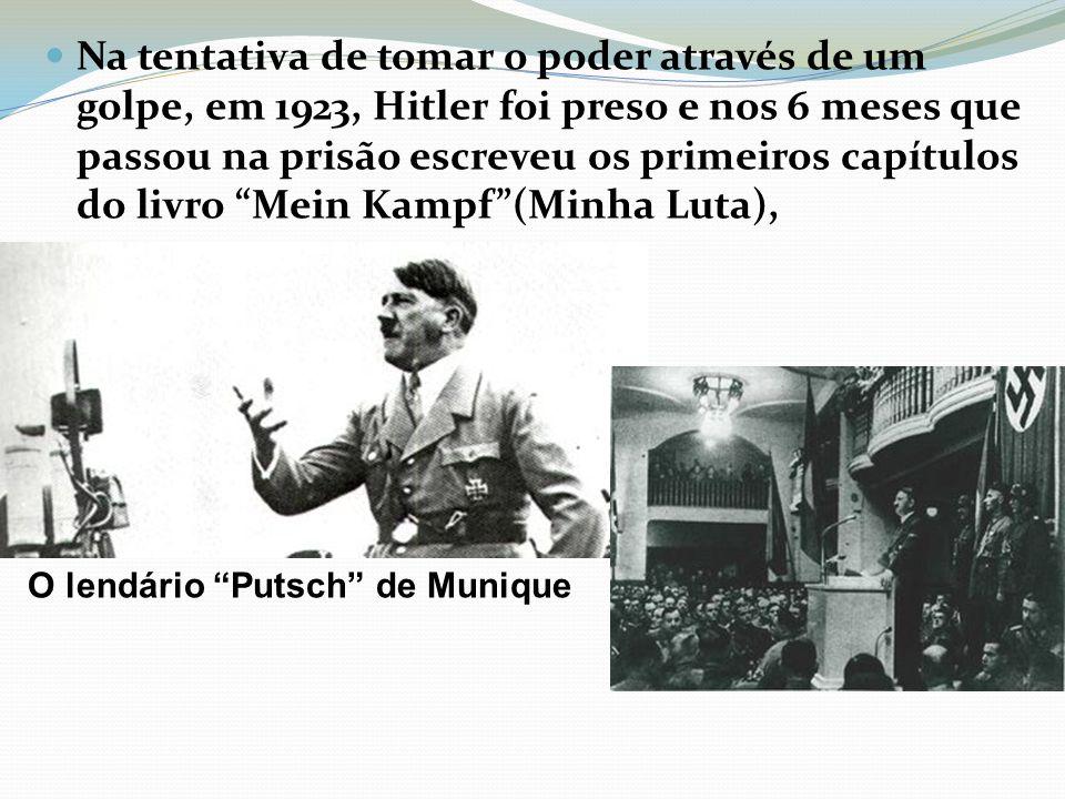 Na tentativa de tomar o poder através de um golpe, em 1923, Hitler foi preso e nos 6 meses que passou na prisão escreveu os primeiros capítulos do liv