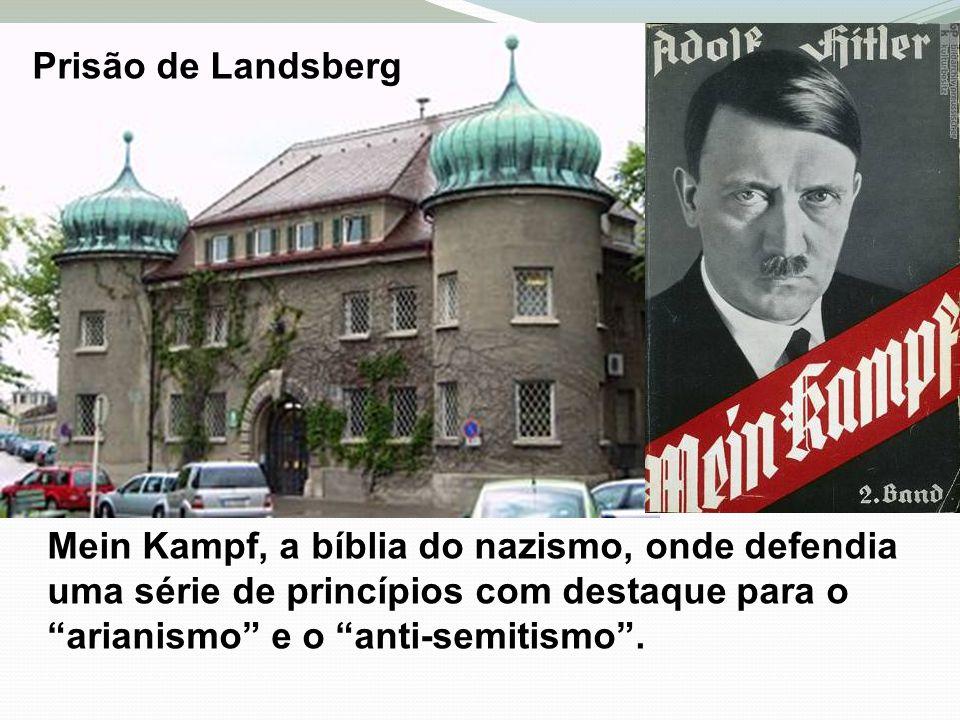 Prisão de Landsberg Mein Kampf, a bíblia do nazismo, onde defendia uma série de princípios com destaque para o arianismo e o anti-semitismo.
