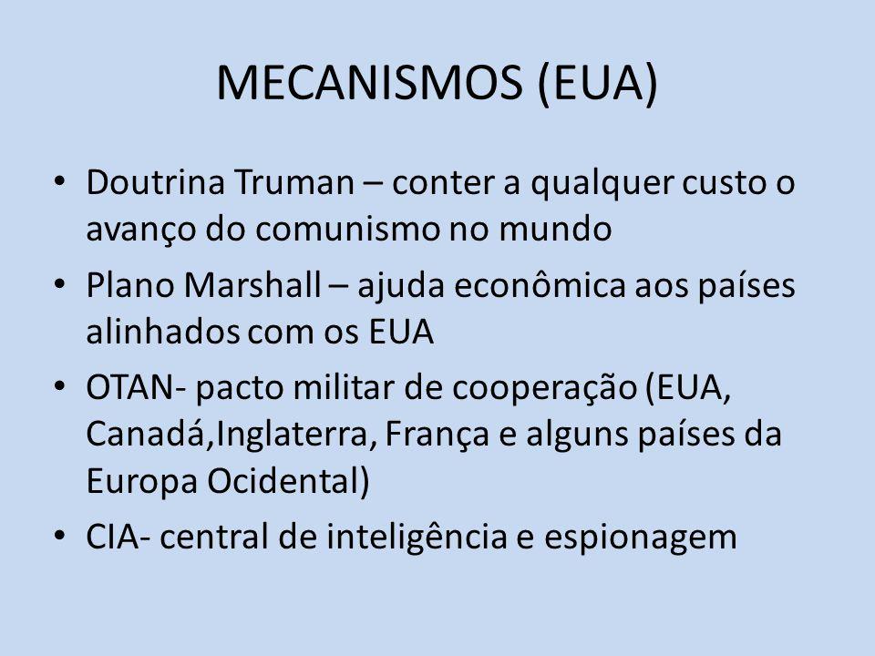 MECANISMOS (EUA) Doutrina Truman – conter a qualquer custo o avanço do comunismo no mundo Plano Marshall – ajuda econômica aos países alinhados com os EUA OTAN- pacto militar de cooperação (EUA, Canadá,Inglaterra, França e alguns países da Europa Ocidental) CIA- central de inteligência e espionagem