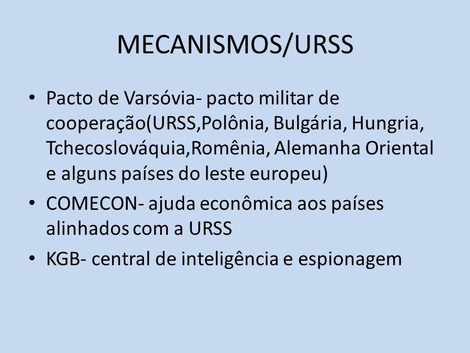 MECANISMOS/URSS Pacto de Varsóvia- pacto militar de cooperação(URSS,Polônia, Bulgária, Hungria, Tchecoslováquia,Romênia, Alemanha Oriental e alguns países do leste europeu) COMECON- ajuda econômica aos países alinhados com a URSS KGB- central de inteligência e espionagem