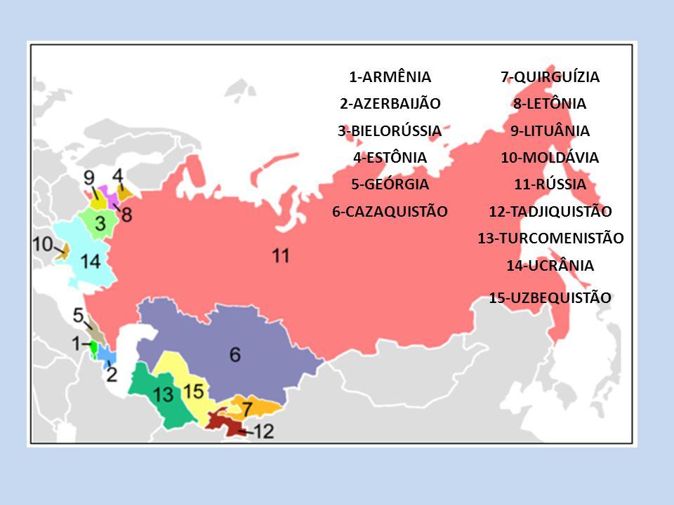 1-ARMÊNIA7-QUIRGUÍZIA 2-AZERBAIJÃO8-LETÔNIA 3-BIELORÚSSIA9-LITUÂNIA 4-ESTÔNIA10-MOLDÁVIA 5-GEÓRGIA11-RÚSSIA 6-CAZAQUISTÃO12-TADJIQUISTÃO 13-TURCOMENISTÃO 14-UCRÂNIA 15-UZBEQUISTÃO