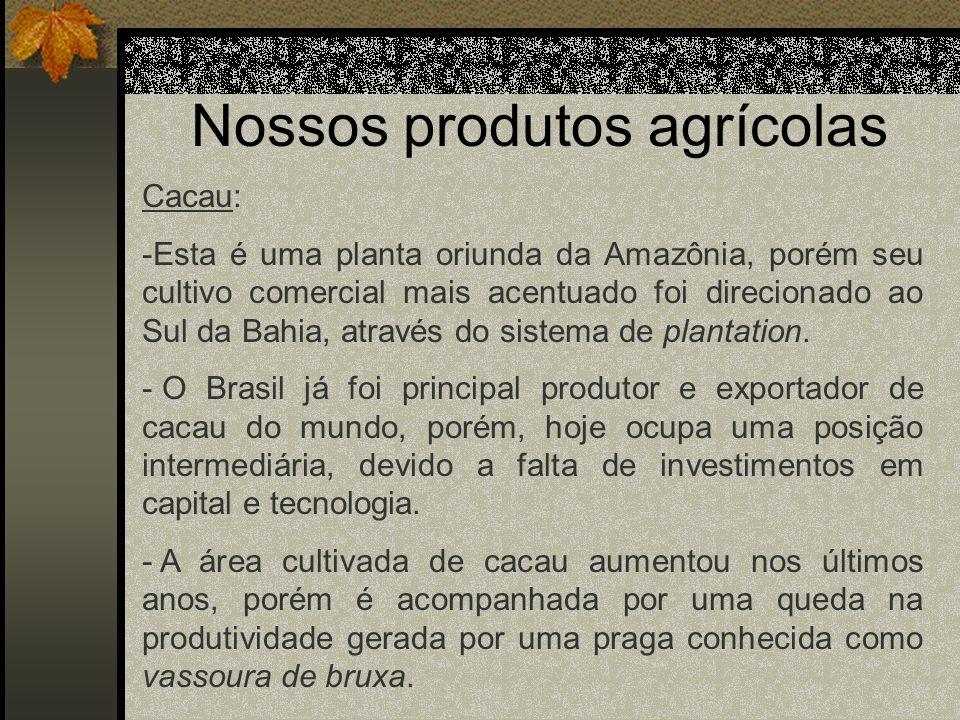 Nossos produtos agrícolas Cacau: -Esta é uma planta oriunda da Amazônia, porém seu cultivo comercial mais acentuado foi direcionado ao Sul da Bahia, a