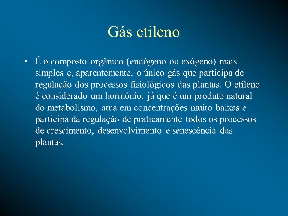 Gás etileno É o composto orgânico (endógeno ou exógeno) mais simples e, aparentemente, o único gás que participa de regulação dos processos fisiológicos das plantas.