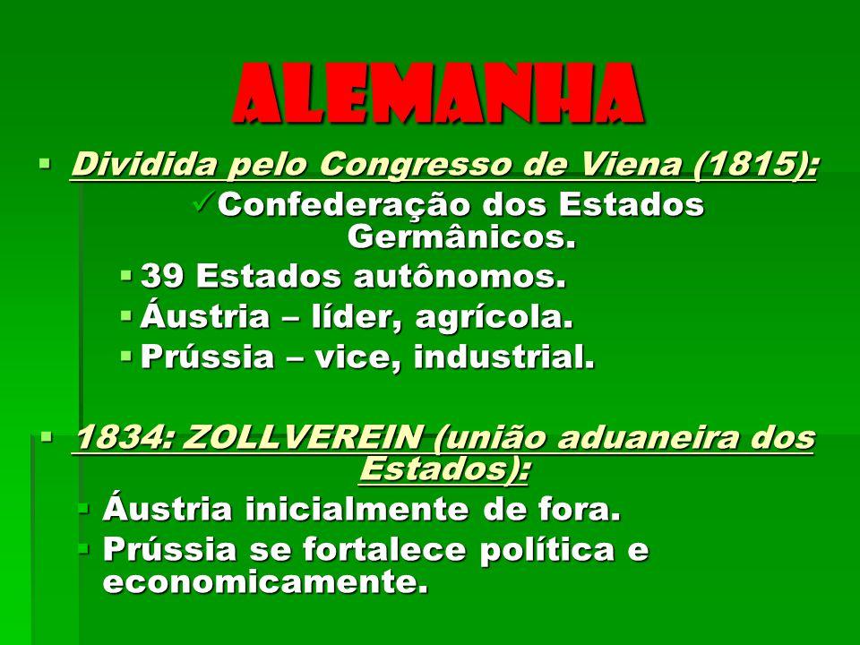 ALEMANHA Dividida pelo Congresso de Viena (1815): Dividida pelo Congresso de Viena (1815): Confederação dos Estados Germânicos. Confederação dos Estad
