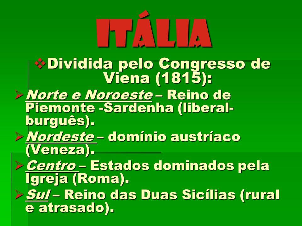 ITÁLIA Dividida pelo Congresso de Viena (1815): Dividida pelo Congresso de Viena (1815): Norte e Noroeste – Reino de Piemonte -Sardenha (liberal- burg