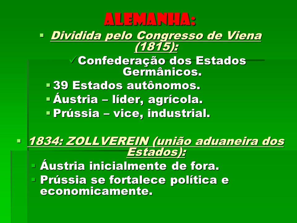 ALEMANHA: Dividida pelo Congresso de Viena (1815): Dividida pelo Congresso de Viena (1815): Confederação dos Estados Germânicos. Confederação dos Esta