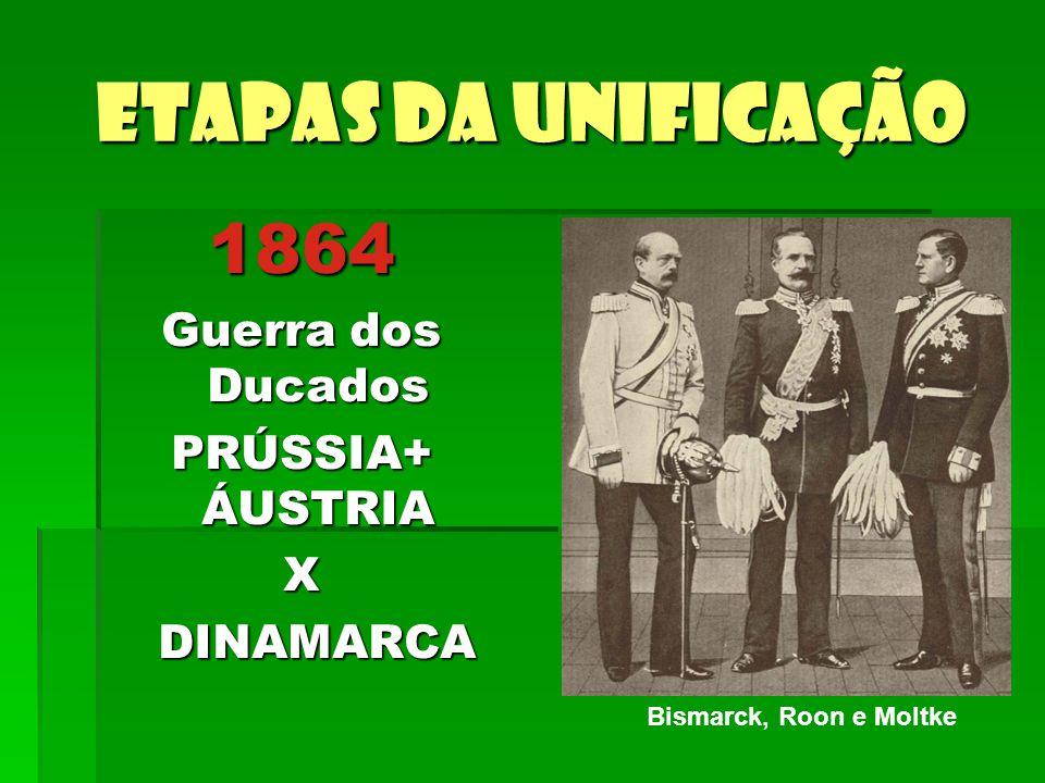 Etapas da unificação 1864 Guerra dos Ducados PRÚSSIA+ ÁUSTRIA X DINAMARCA DINAMARCA Bismarck, Roon e Moltke