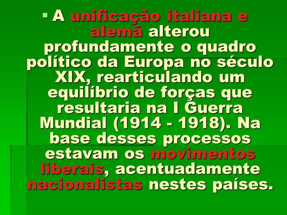 A unificação italiana e alemã alterou profundamente o quadro político da Europa no século XIX, rearticulando um equilíbrio de forças que resultaria na