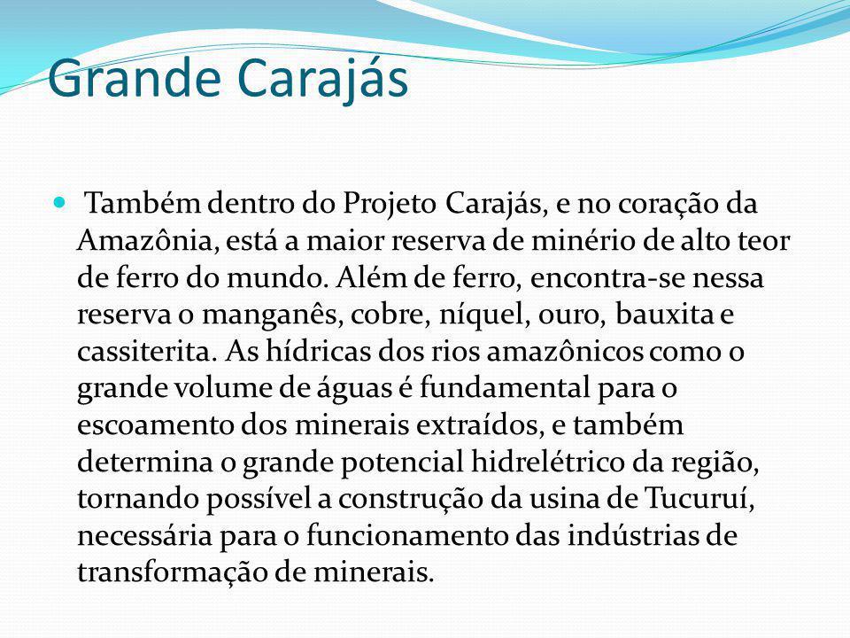Grande Carajás Também dentro do Projeto Carajás, e no coração da Amazônia, está a maior reserva de minério de alto teor de ferro do mundo. Além de fer
