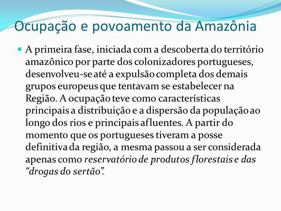 Ocupação e povoamento da Amazônia A primeira fase, iniciada com a descoberta do território amazônico por parte dos colonizadores portugueses, desenvol