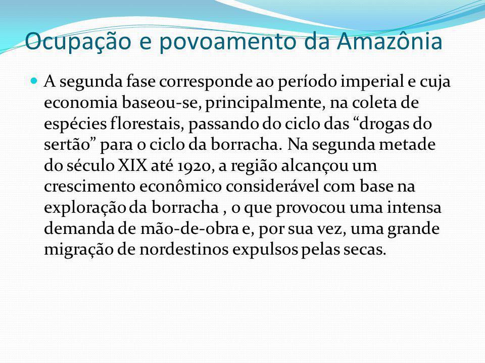 Ocupação e povoamento da Amazônia Apesar das grandes transformações que estas duas fases trouxeram para a Região como um todo, elas foram relativamente pequenas quando comparadas às do período que se inicia na década de 1960, tanto em termos populacionais, quanto econômicos.