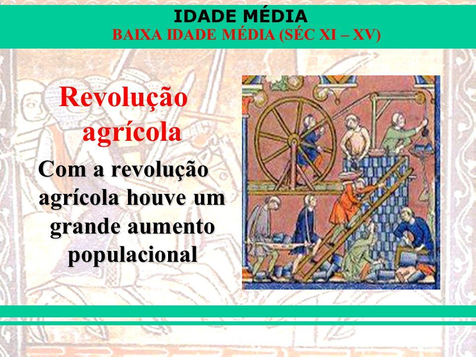 IDADE MÉDIA BAIXA IDADE MÉDIA (SÉC XI – XV) Revolução agrícola Com a revolução agrícola houve um grande aumento populacional