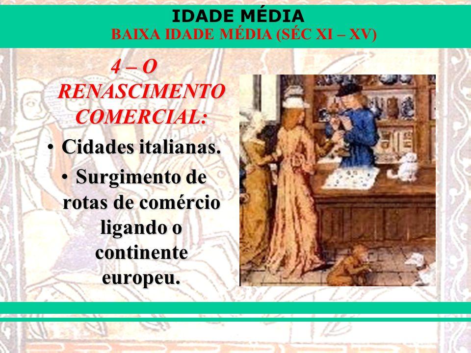 IDADE MÉDIA BAIXA IDADE MÉDIA (SÉC XI – XV) 4 – O RENASCIMENTO COMERCIAL: Cidades italianas.Cidades italianas. Surgimento de rotas de comércio ligando