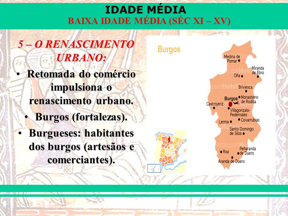IDADE MÉDIA BAIXA IDADE MÉDIA (SÉC XI – XV) 5 – O RENASCIMENTO URBANO: Retomada do comércio impulsiona o renascimento urbano.Retomada do comércio impu