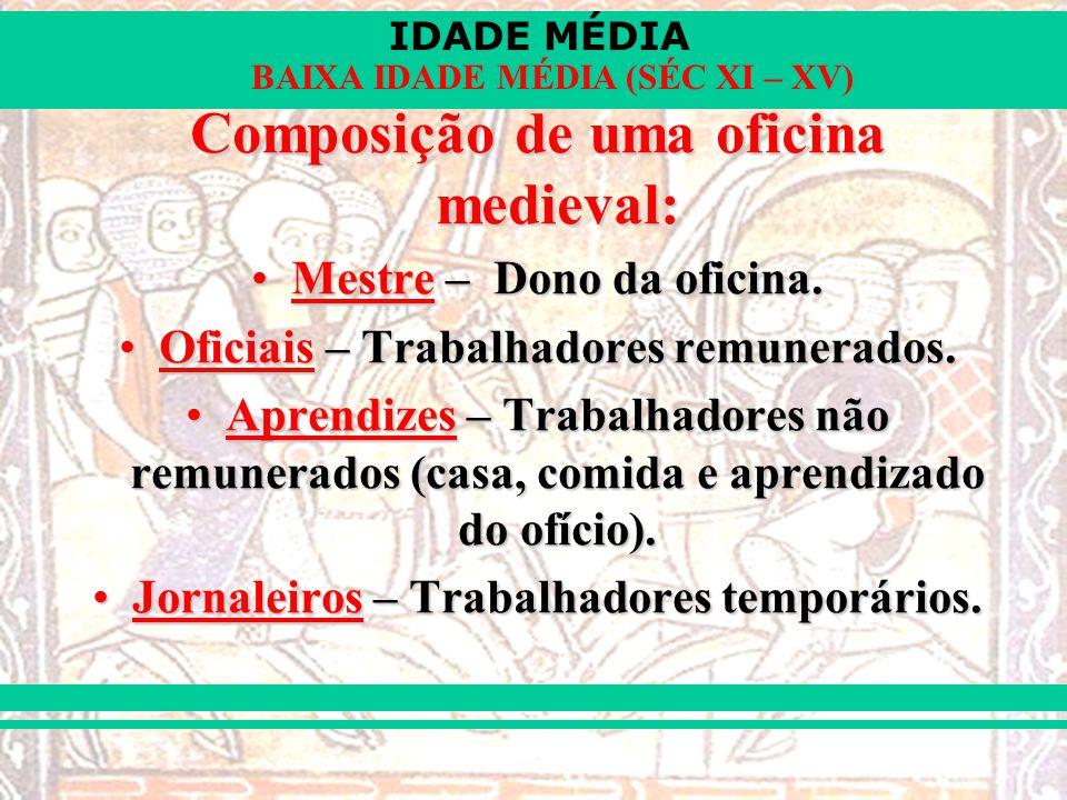 IDADE MÉDIA BAIXA IDADE MÉDIA (SÉC XI – XV) Composição de uma oficina medieval: Mestre – Dono da oficina.Mestre – Dono da oficina. Oficiais – Trabalha