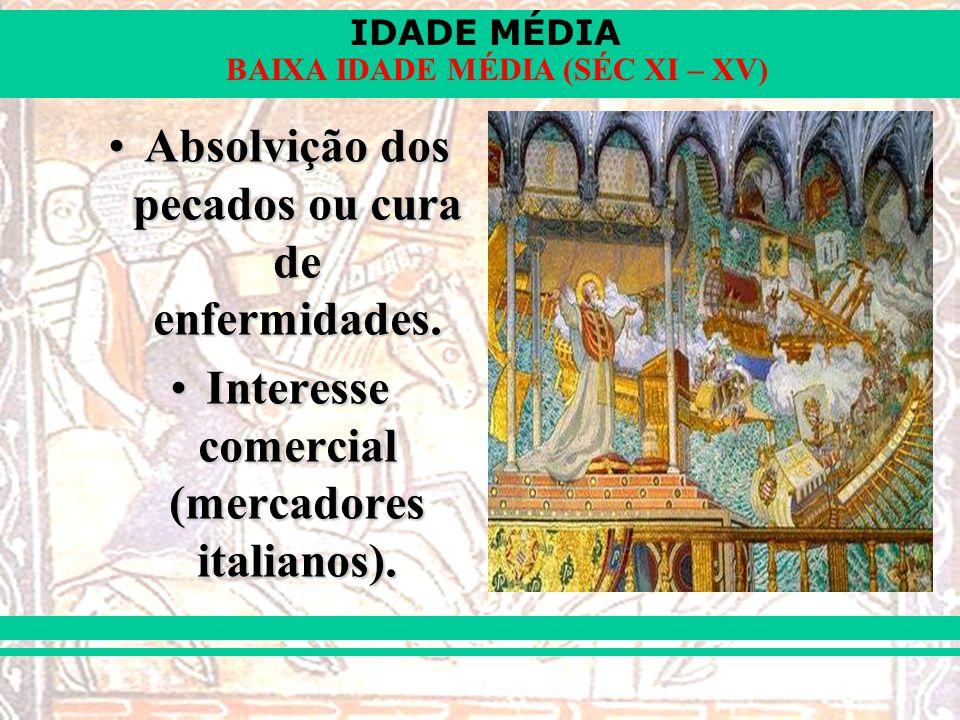 IDADE MÉDIA BAIXA IDADE MÉDIA (SÉC XI – XV) Absolvição dos pecados ou cura de enfermidades.Absolvição dos pecados ou cura de enfermidades.