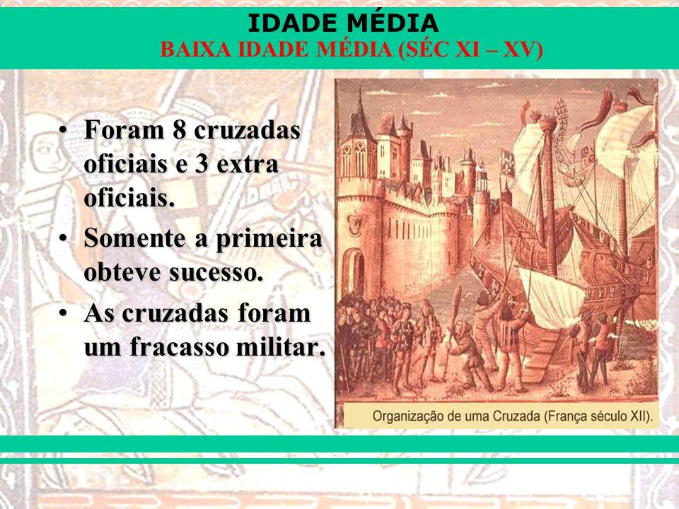 IDADE MÉDIA BAIXA IDADE MÉDIA (SÉC XI – XV) Foram 8 cruzadas oficiais e 3 extra oficiais.Foram 8 cruzadas oficiais e 3 extra oficiais.