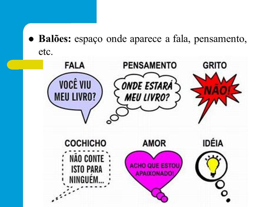 Balões: espaço onde aparece a fala, pensamento, etc.