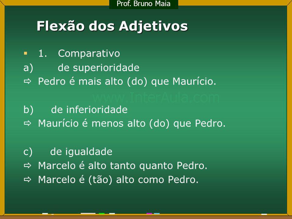 Flexão dos Adjetivos 1. Comparativo a) de superioridade Pedro é mais alto (do) que Maurício. b) de inferioridade Maurício é menos alto (do) que Pedro.