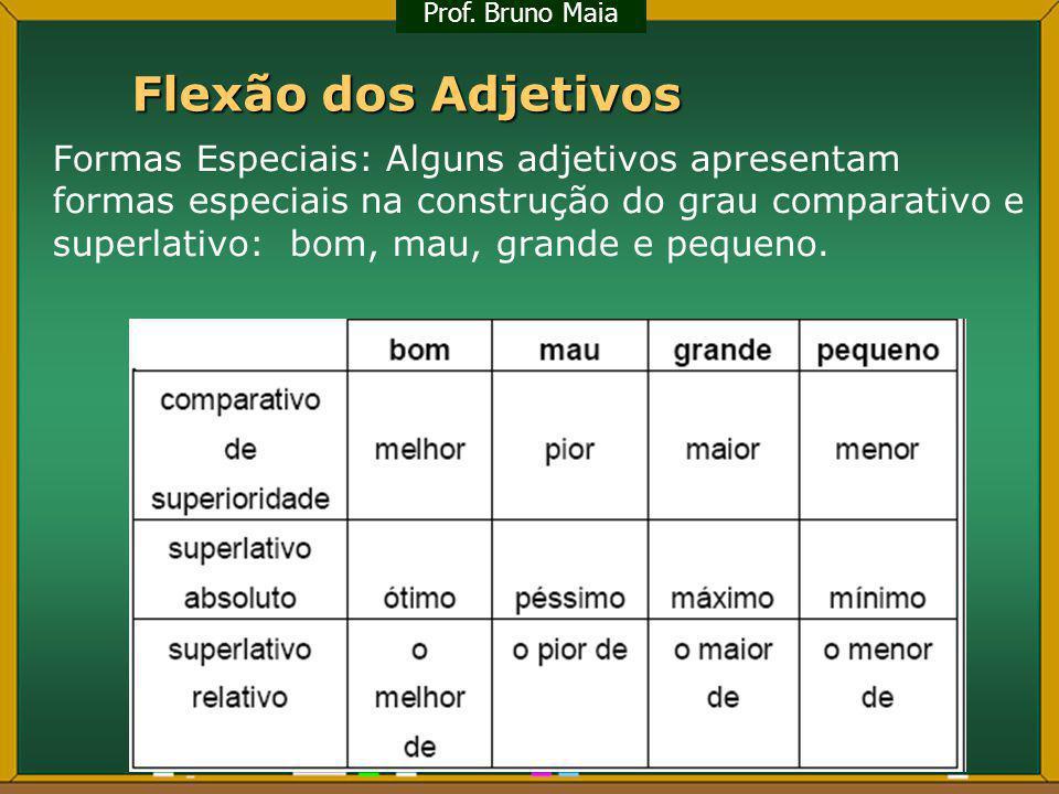 Flexão dos Adjetivos Formas Especiais: Alguns adjetivos apresentam formas especiais na construção do grau comparativo e superlativo: bom, mau, grande