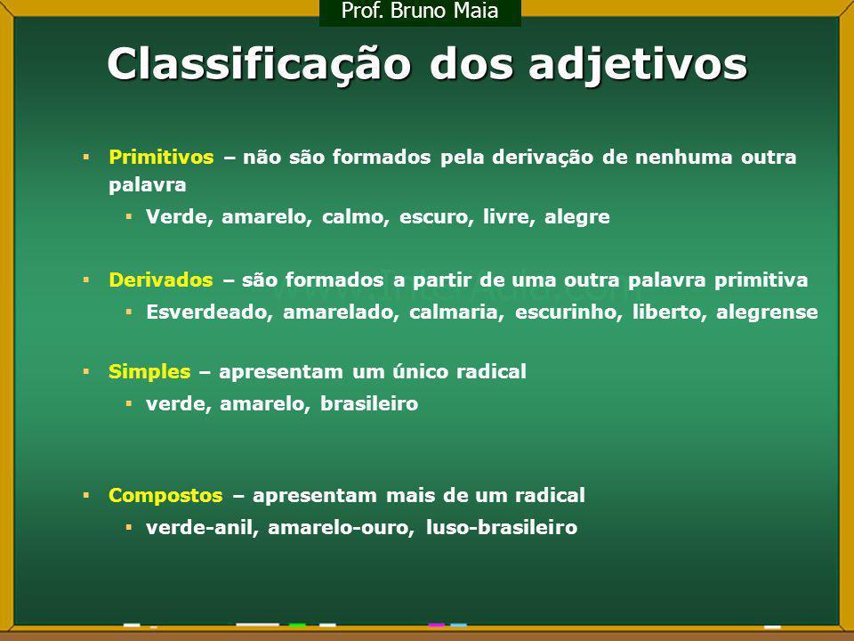 Classificação dos adjetivos Primitivos – não são formados pela derivação de nenhuma outra palavra Verde, amarelo, calmo, escuro, livre, alegre Derivad