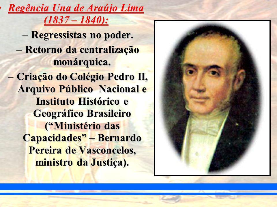Regência Una de Araújo Lima (1837 – 1840):Regência Una de Araújo Lima (1837 – 1840): –Regressistas no poder.