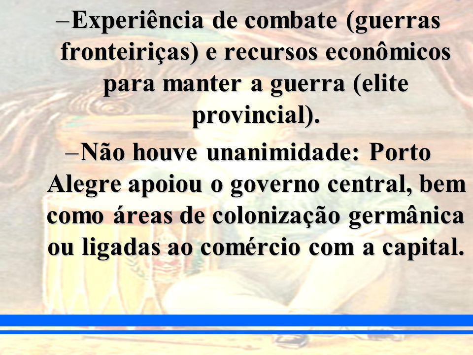 –Experiência de combate (guerras fronteiriças) e recursos econômicos para manter a guerra (elite provincial).