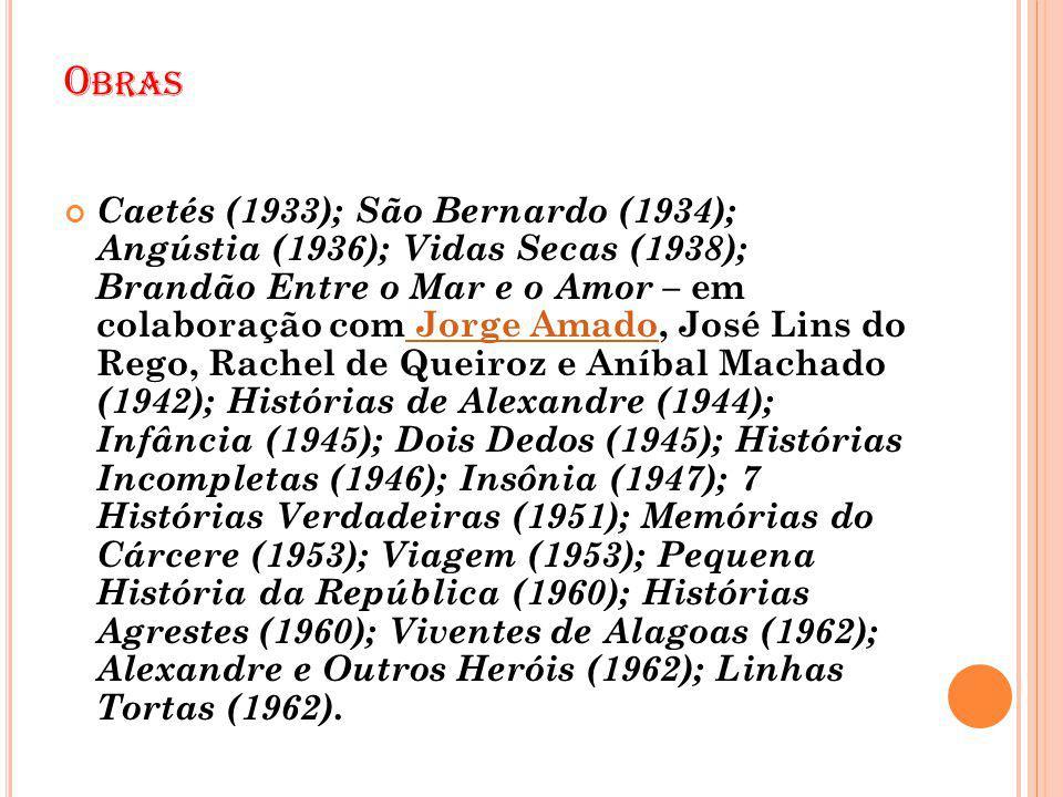 O BRAS Caetés (1933); São Bernardo (1934); Angústia (1936); Vidas Secas (1938); Brandão Entre o Mar e o Amor – em colaboração com Jorge Amado, José Li
