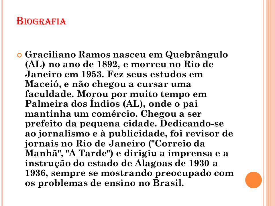 B IOGRAFIA Graciliano Ramos nasceu em Quebrângulo (AL) no ano de 1892, e morreu no Rio de Janeiro em 1953. Fez seus estudos em Maceió, e não chegou a