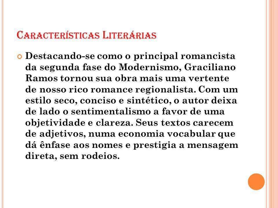 C ARACTERÍSTICAS L ITERÁRIAS Destacando-se como o principal romancista da segunda fase do Modernismo, Graciliano Ramos tornou sua obra mais uma verten