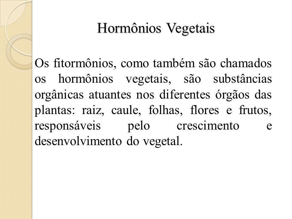 Hormônios Vegetais Os fitormônios, como também são chamados os hormônios vegetais, são substâncias orgânicas atuantes nos diferentes órgãos das plantas: raiz, caule, folhas, flores e frutos, responsáveis pelo crescimento e desenvolvimento do vegetal.