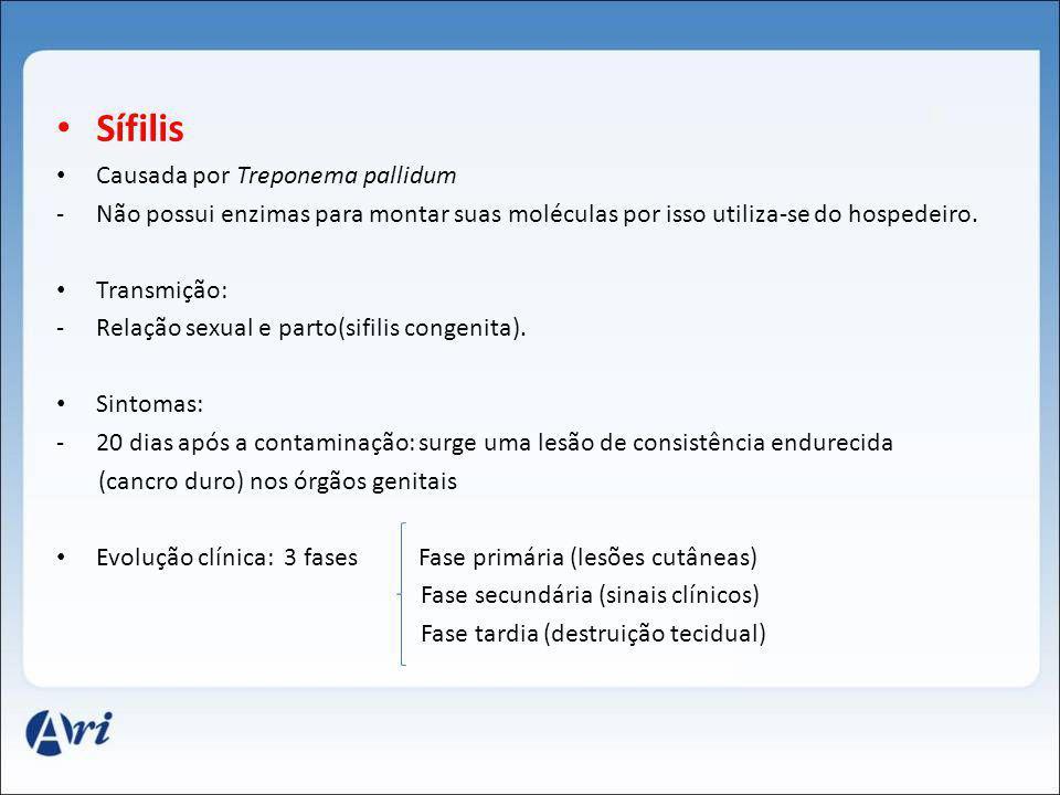Sífilis Causada por Treponema pallidum -Não possui enzimas para montar suas moléculas por isso utiliza-se do hospedeiro. Transmição: -Relação sexual e