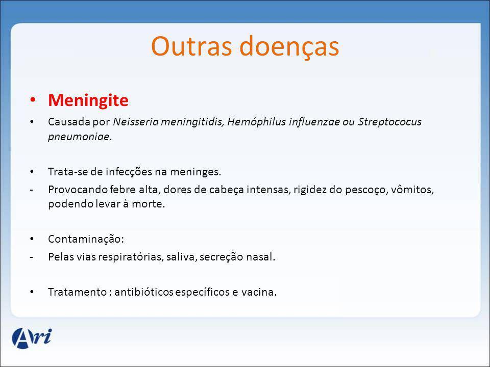 Outras doenças Meningite Causada por Neisseria meningitidis, Hemóphilus influenzae ou Streptococus pneumoniae. Trata-se de infecções na meninges. -Pro