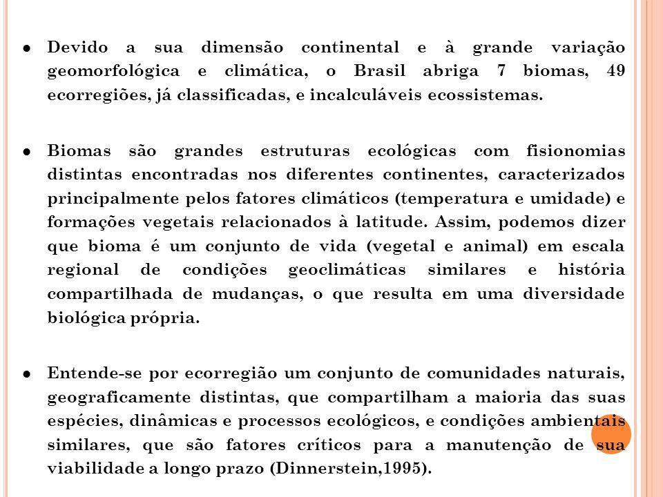 Devido a sua dimensão continental e à grande variação geomorfológica e climática, o Brasil abriga 7 biomas, 49 ecorregiões, já classificadas, e incalculáveis ecossistemas.