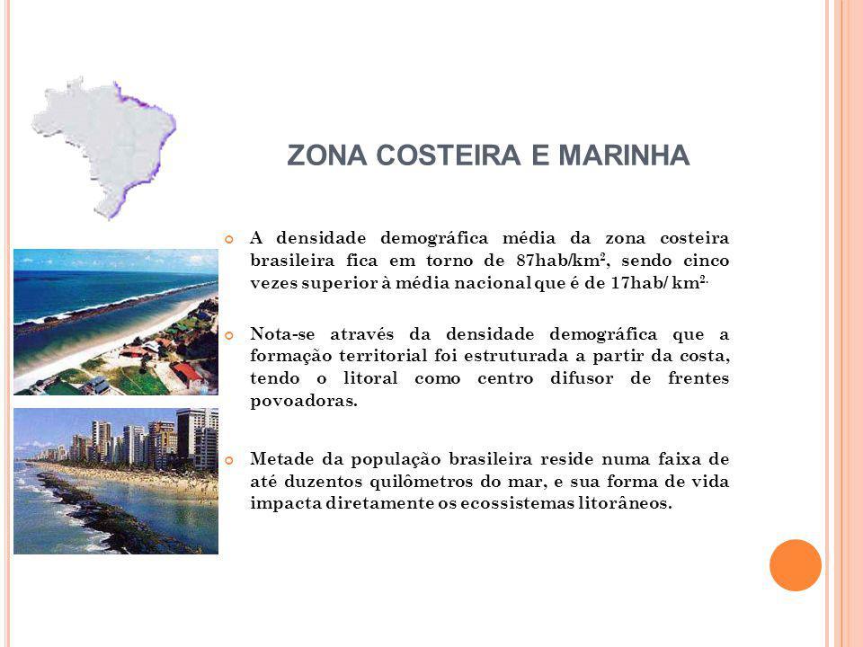 A densidade demográfica média da zona costeira brasileira fica em torno de 87hab/km 2, sendo cinco vezes superior à média nacional que é de 17hab/ km 2.