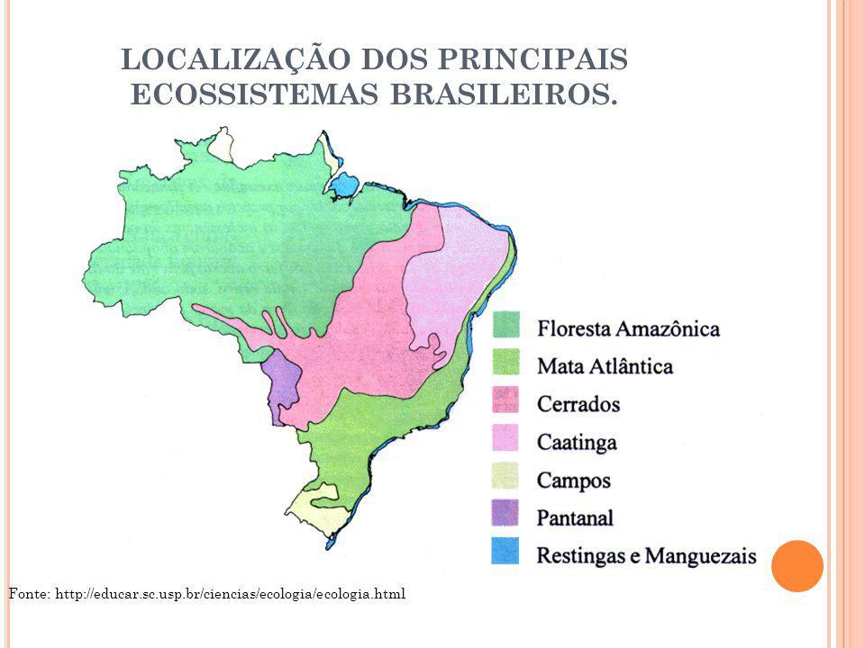 LOCALIZAÇÃO DOS PRINCIPAIS ECOSSISTEMAS BRASILEIROS. Fonte: http://educar.sc.usp.br/ciencias/ecologia/ecologia.html