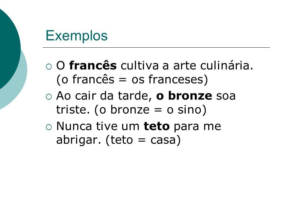 Exemplos O francês cultiva a arte culinária.